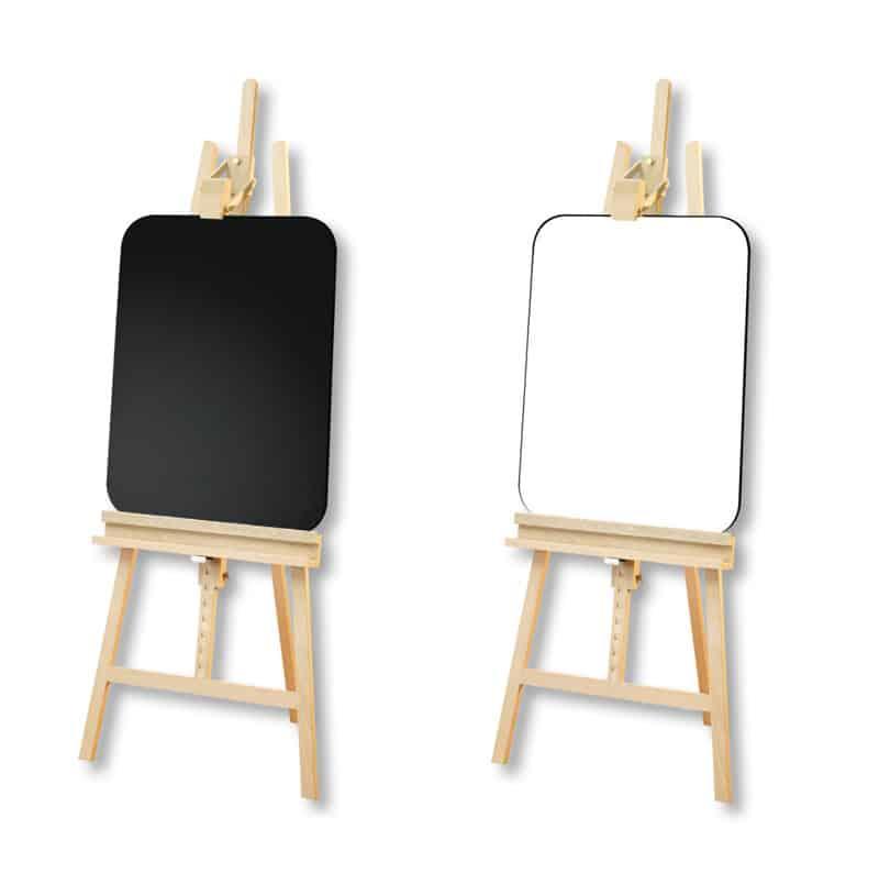1 chevalet Vintage en bois avec fond noir 1 un chevalet Vintage en bois avec fond blanc