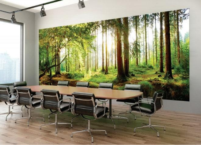 Autre ambiance de mur d'image, imprimé en sublimation, installé dans une immense salle de réunion