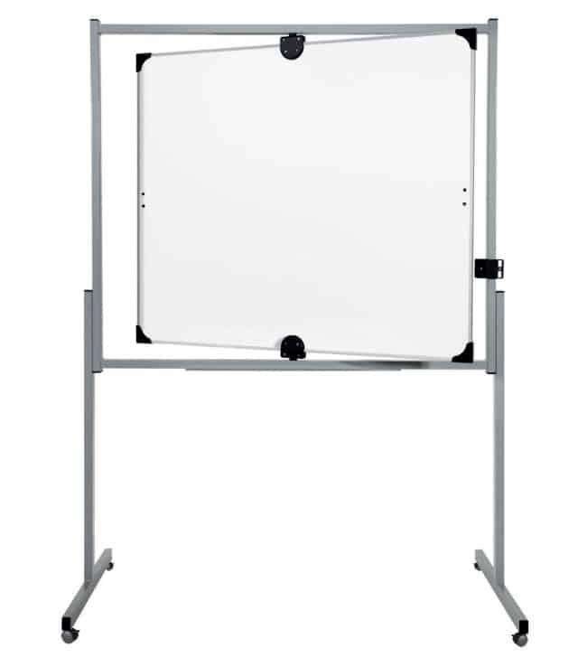 Tableau blanc pivotant sur axe vertical ou horizontal et pieds à roulettes