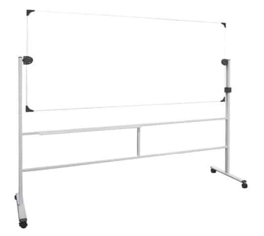Tableau blanc pivotant sur axe horizontal et pieds à roulettes, modèle ligne bureau