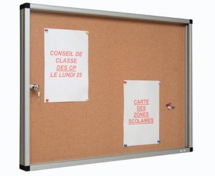 Vitrine d'affichage avec porte ouvrante et fond liège