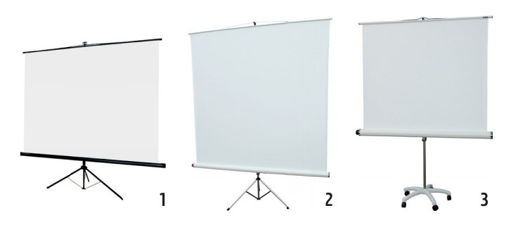 3 exemples d'écrans de projection sur trépied avec platine de renfort au sol : avec roulettes ou sans
