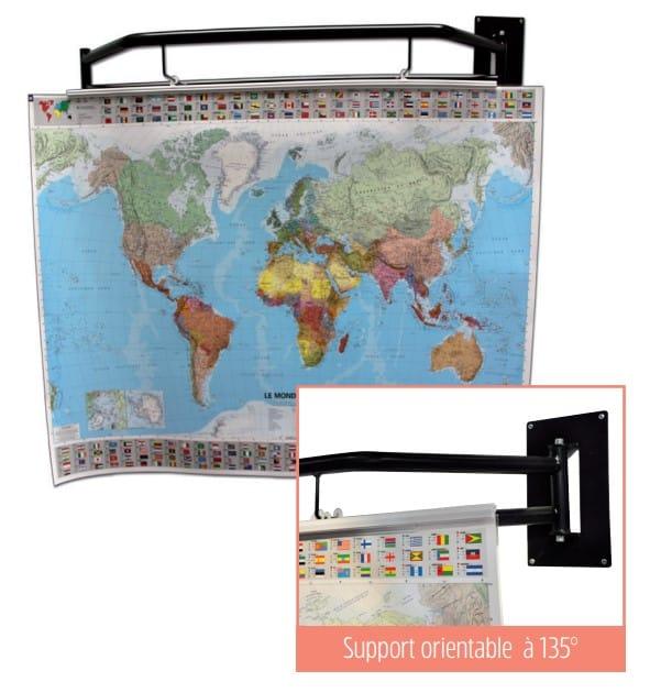 Support mural pivotant de cartes du monde et son gros plan sur le concept
