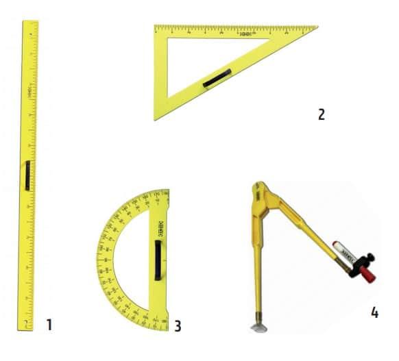Divers outils de traçage magnétiques comme la règle, le compas, l'équerre ou le rapporteur